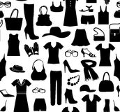 Fashion cloth seamless pattern. Women clothes and accessories. R Royalty Free Stock Image