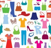 Fashion cloth seamless pattern. Women clothes and accessories. R Stock Photos