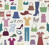 Fashion cloth seamless pattern. Women clothes and accessories. Stock Photos