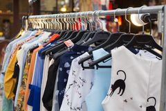 Cloth on rack stock photo