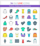 Fashion, Clothes and Accessories Icons Royalty Free Stock Photography