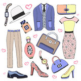 Fashion clothes and accessories set Stock Photos
