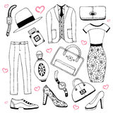 Fashion clothes and accessories set. Summer doodles collection. Vector sketch icons for man woman beauty design. Royalty Free Stock Photo