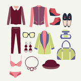 Fashion clothes and accessories for women for design Royalty Free Stock Photo