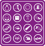 Fashion, Clothes And Accessory Icons Stock Image