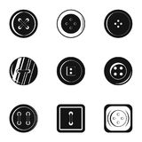 Fashion clothes button icon set, simple style. Fashion clothes button icon set. Simple set of 9 fashion clothes button vector icons for web isolated on white Royalty Free Stock Photo