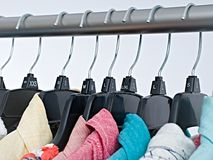 Fashion clothes on clothing rack ,colorful closet royalty free stock photos
