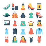 Fashion and Clothes Colored Vector Icons 1. Set of beauty and fashion flat colored icons Royalty Free Stock Image