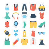 Fashion and Clothes Colored Vector Icons 5 Stock Images