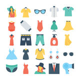 Fashion and Clothes Colored Vector Icons 6 Royalty Free Stock Image