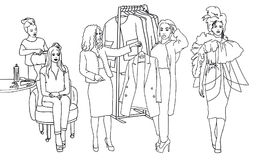 Fashion clothes designer working on dress project create a new style. Stylist advise. Vector  sketch. Fashion clothes designer working on dress project trying Royalty Free Stock Images