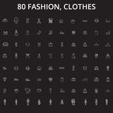 Fashion, clothes editable line icons vector set on black background. Fashion, clothes white outline illustrations, signs. Symbols royalty free illustration