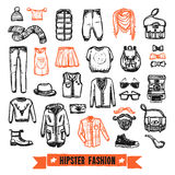 Fashion clothes hipster doodle icons set Royalty Free Stock Photo