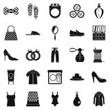Fashion clothes icons set, simple style. Fashion clothes icons set. Simple set of 25 fashion clothes vector icons for web isolated on white background Royalty Free Stock Images