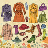 Fashion clothes set.Autumn  woman wear, leaves Royalty Free Stock Photo