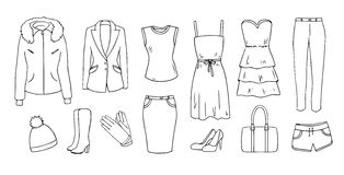 Fashion and clothes  set Stock Photography
