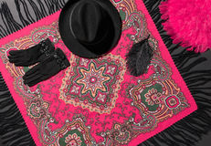 Fashion clothes stylish set. Shawl, hat and gloves Royalty Free Stock Photos