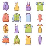 Fashion clothes wear icons set, cartoon style Royalty Free Stock Images
