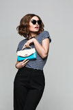 Fashion clothes.wearing vintage sunglasses, equipment, leisure style, bright woman Stock Photos