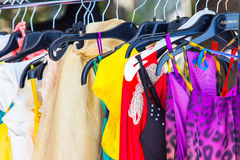 Fashion clothing on hangers Stock Photography