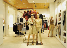 Fashion clothing store. A girl's fashion clothing store in wuxi YAOHAN shopping plaza, YAOHAN is a high-end, luxury shopping plaza, many famous international Royalty Free Stock Image