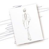 Fashion-coat-paper. Vector fashion model. Vector sketch silhouette. Dress pencil sketch. Vector fashion outline. Vector style lady. Vector fashion girl. Magazine Royalty Free Illustration