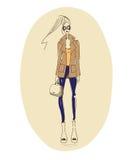 Fashion coat. Vector fashion model. Vector sketch silhouette. Vector vintage lady. Dress pencil sketch. Vector fashion outline. Vector style  lady. Vector Stock Illustration