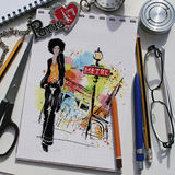 Fashion collage with freehand drawings Royalty Free Stock Images