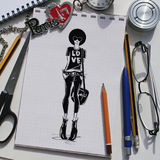 Fashion collage with freehand drawings Stock Photography