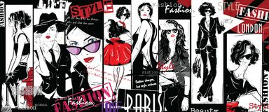 Fashion collage with freehand drawings. Female faces royalty free illustration