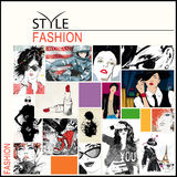 Fashion collage with freehand drawings. Female faces Stock Photo