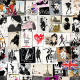 Fashion collage with freehand drawings Stock Image