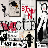 Fashion collage with freehand drawings Royalty Free Stock Photo