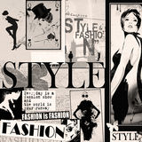 Fashion collage with freehand drawings Royalty Free Stock Photos