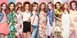 Group of beautiful young women. Fashion collage. Group of beautiful young women. Blonde young women in floral spring summer dress. Girl posing. Summer floral royalty free stock photos