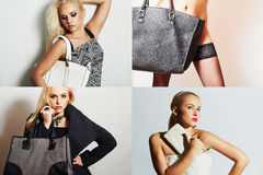Fashion collage.Group of beautiful young women. girls with handbag. Beautiful blond woman.Stylish girl with white clutch.Spring Shopping.Beauty collage.Bags stock photography