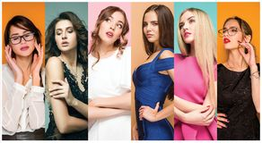 Fashion collage of images of beautiful young women. Sensual girls. Fashion collage. Group of beautiful young women. Sensual girls Stock Image