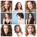 Fashion collage. Collage of fashion portraits. Girls with beautiful healthy hair. Collage hairstyles Stock Photo