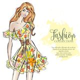 Fashion collection advertising brochure with trendy girl in sketch style, beaty woman model with text template,  illustratio Stock Image