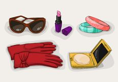 Fashion collection of classic women accessories Royalty Free Stock Images