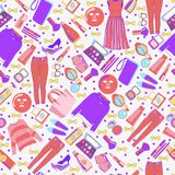Fashion collection of clothes and accessories pattern. Stock Image