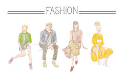 Fashion Collection Of Clothes Set Of Male And Female Models Wearing Trendy Clothing Sketch Royalty Free Stock Photos