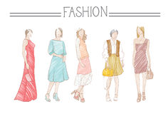 Fashion Collection Of Clothes Set Of Male And Female Models Wearing Trendy Clothing Sketch Royalty Free Stock Images