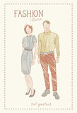 Fashion Collection Of Clothes Set Of Male And Female Models Wearing Trendy Clothing Sketch Stock Images