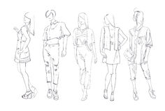 Fashion Collection Of Clothes Set Of Male And Female Models Wearing Trendy Clothing Sketch Royalty Free Stock Photo