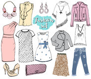 Fashion collection Doodles set. Hand Drawn Sketch with dress shoes, pants and jacket, handbag and accessories vector Illustration Royalty Free Stock Photos