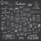 Fashion collection Sketchy Doodles set with Lettering, Hand-Drawn Vector Illustration Design Elements on Lined Sketchbook on chalk Stock Image