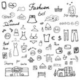 Fashion collection Sketchy Doodles set with Lettering, Hand-Drawn Vector Illustration Design Elements Royalty Free Stock Photos