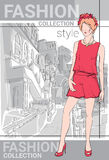 Fashion Collection Style Model Girl Wear Elegant Clothes In Street Sketch Royalty Free Stock Images
