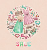 Fashion collection. Watercolor design Royalty Free Stock Images
